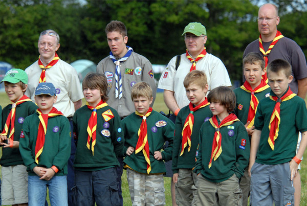boy scouts with adults